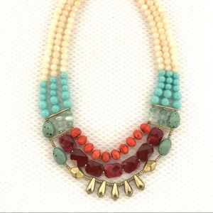 Vintage Look Bead Stone Multi Strand Necklace